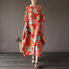 Load image into Gallery viewer, Loose o neck cotton half sleeve clothes Photography red summer long Dress