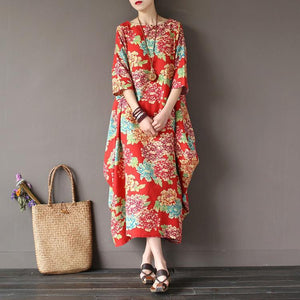 Loose o neck cotton half sleeve clothes Photography red summer long Dress