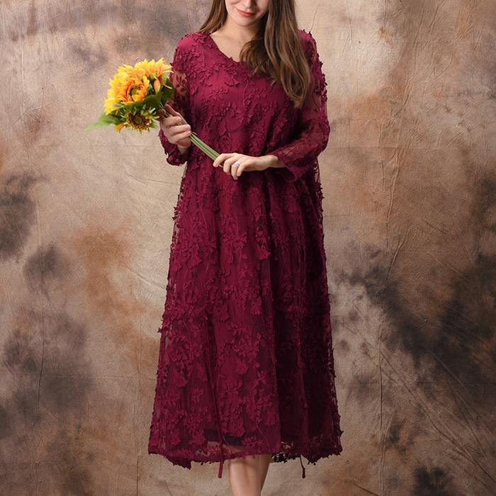 Loose o neck false two pieces lace pattern Boho Tutorials burgundy robes Dress spring