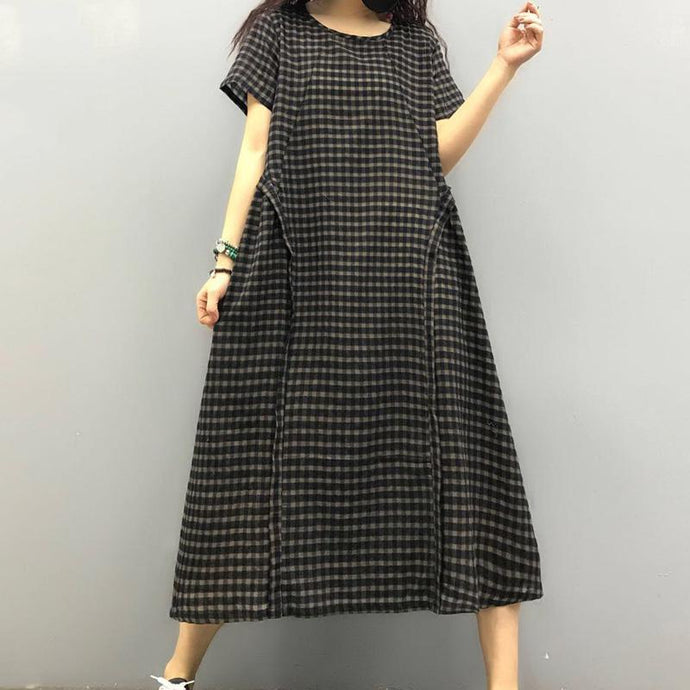 Loose o neck linen dress Sewing black plaid Dresses summer