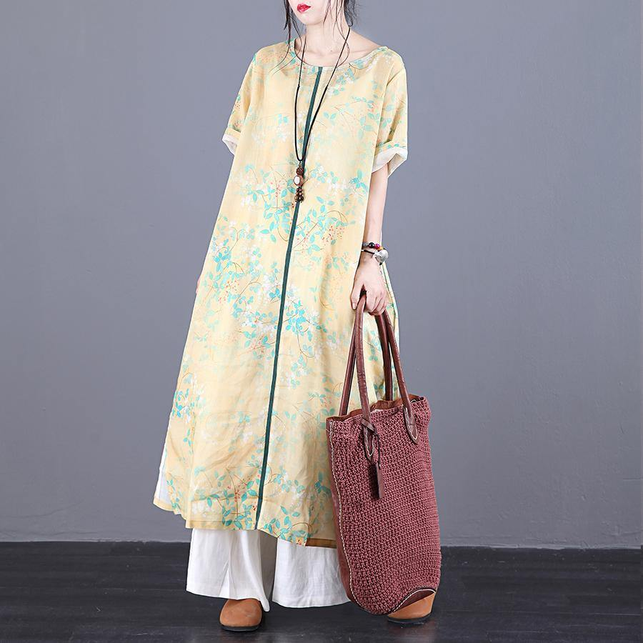 Loose o neck patchwork linen Wardrobes Online Shopping yellow print Dresses summer