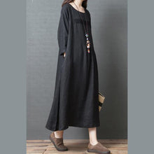 Load image into Gallery viewer, Loose o neck patchwork linen clothes For Women Pakistani design black Art Dresses