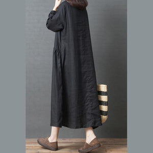 Loose o neck patchwork linen clothes For Women Pakistani design black Art Dresses
