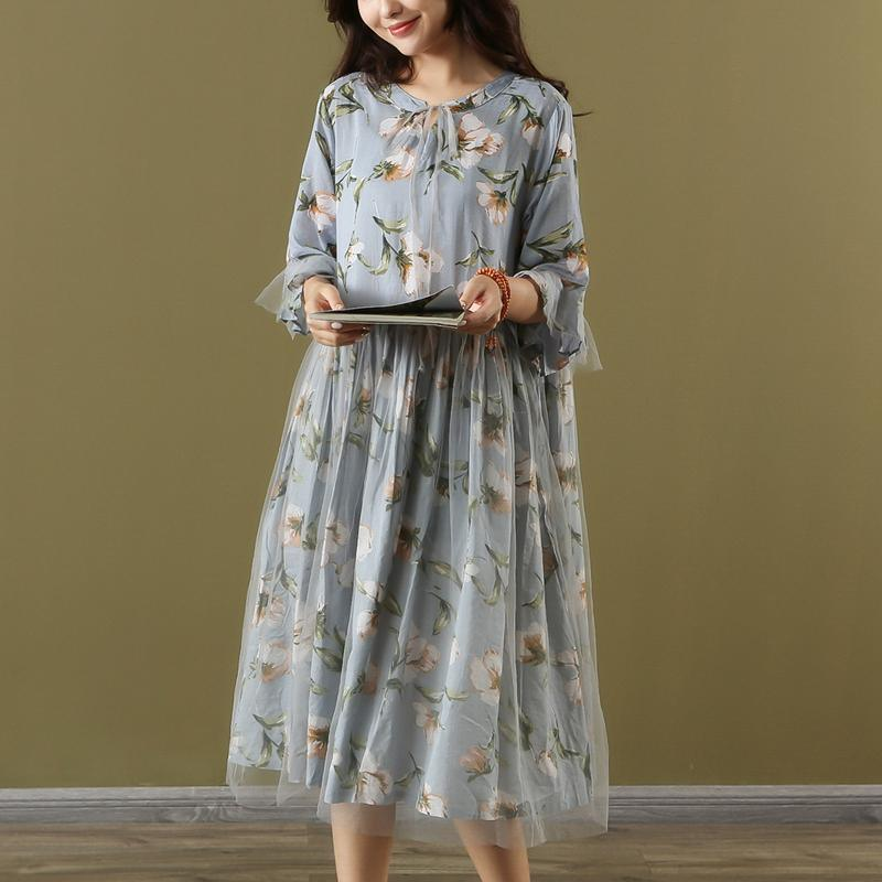 Loose o neck patchwork tulle Cotton light blue print Dress summer