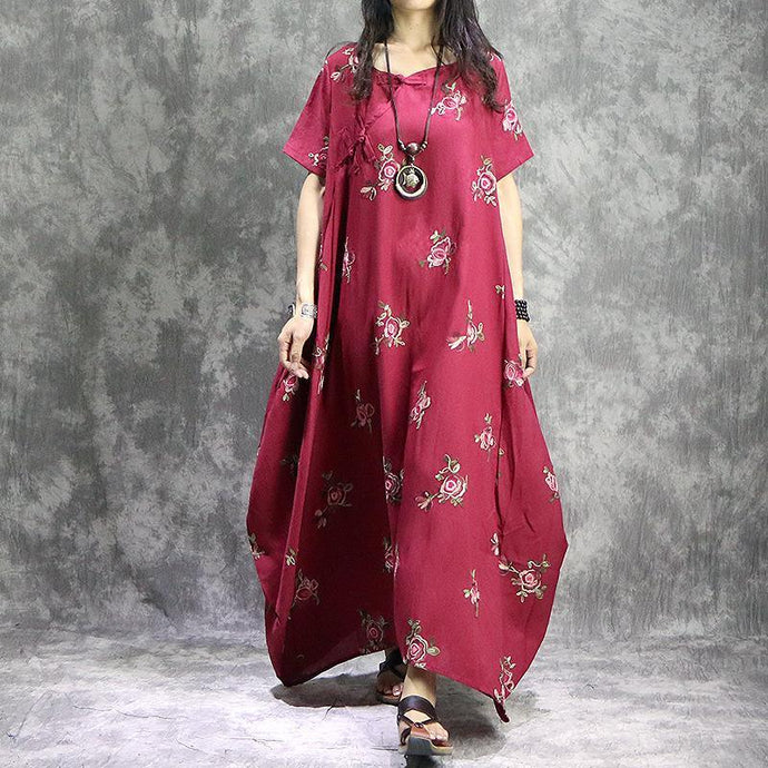 Loose o neck prints linen Robes stylish Work Outfits red loose Dress summer