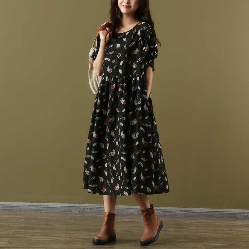 Loose o neck short sleeve chiffon dresses Vintage Wardrobes black print Maxi Dress Summer