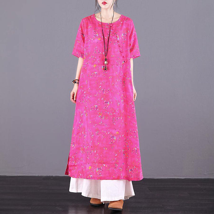 Loose o neck side open pockets linen clothes For Women Sewing red print Dresses summer