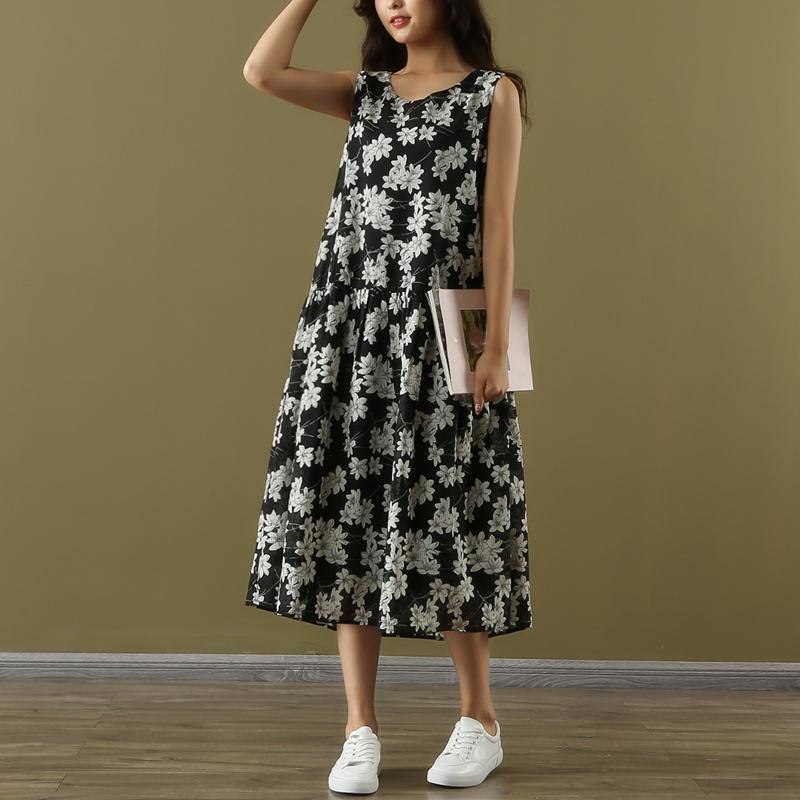 Loose o neck sleeveless chiffon clothes plus size Work black print linen robes Dresses Summer