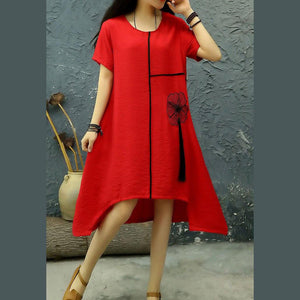 Loose o neck tassel linen dresses Outfits red embroidery Dresses summer