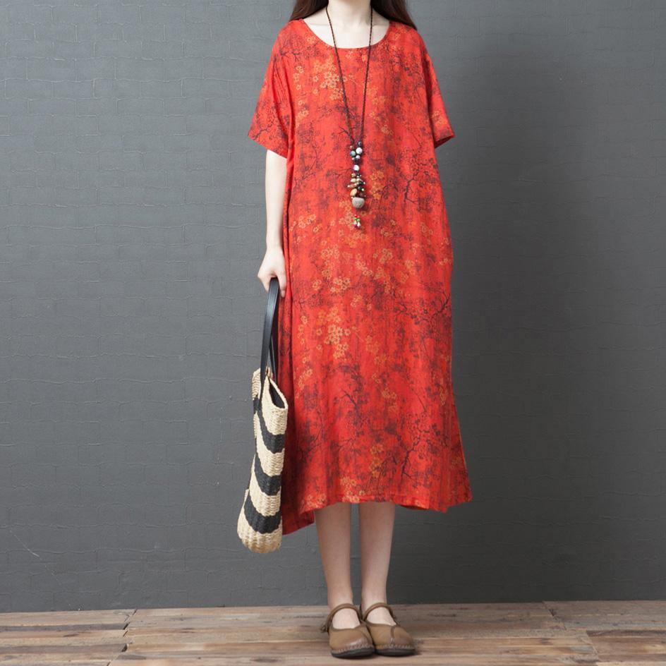 Loose orange print linen dresses o neck pockets long summer Dress