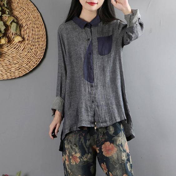 Loose patchwork cotton low high design Blouse Neckline gray blue blouses