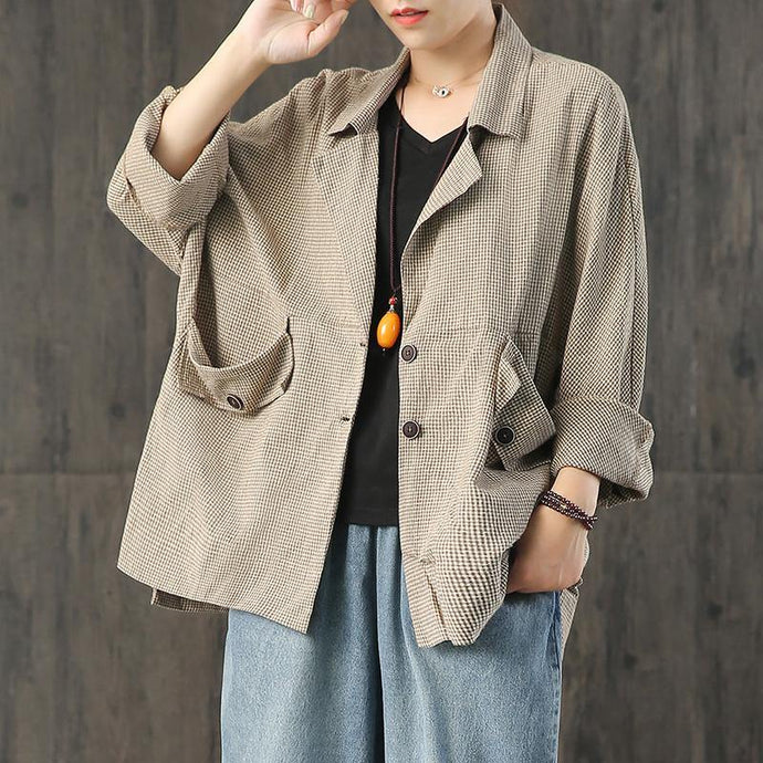 Loose plaid linen outfit Sewing khaki coats fall
