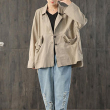 Load image into Gallery viewer, Loose Plaid Linen Outfit Sewing Khaki Coats Fall