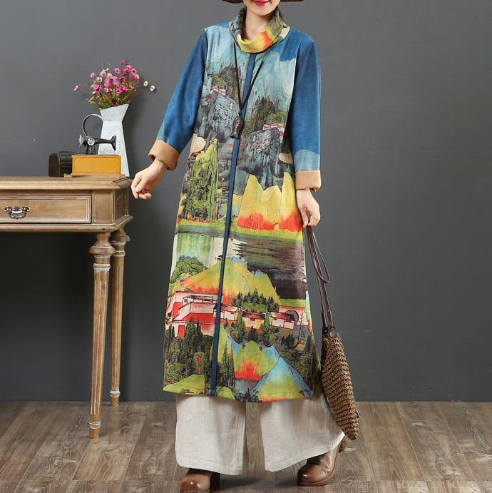 Loose prints cotton high neck dresses Shape blue Robe Dress