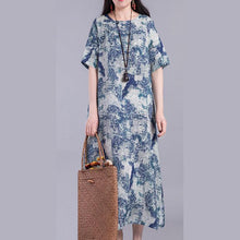 Load image into Gallery viewer, Loose prints linen Robes Fashion Ideas blue side open Dress summer