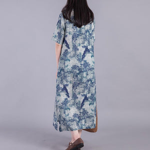 Loose prints linen Robes Fashion Ideas blue side open Dress summer