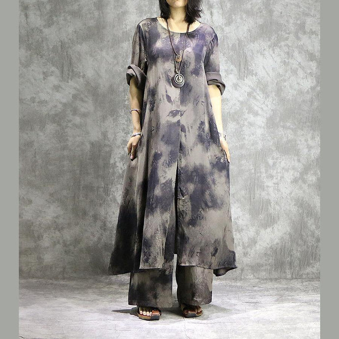 Loose prints silk dresses Organic Shape gray two pieces long Dresses summer