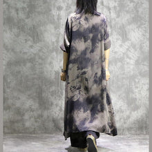 Laden Sie das Bild in den Galerie-Viewer, Loose prints silk dresses Organic Shape gray two pieces long Dresses summer