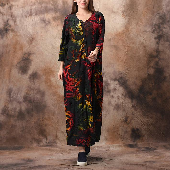 Loose red Jacquard Wardrobes Indian Shape o neck patchwork Plus Size spring Dress