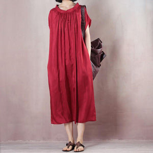 Loose red clothes Indian Tunic Tops o neck Kaftan Summer Dresses