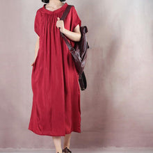 Load image into Gallery viewer, Loose red clothes Indian Tunic Tops o neck Kaftan Summer Dresses