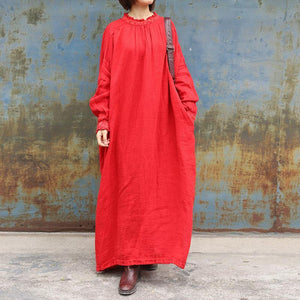 Loose red cotton tunic dress o neck Plus Size Clothing spring Dresses