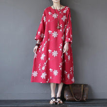 Load image into Gallery viewer, Loose red embroidery cotton linen clothes Fabrics Art pockets Dresses