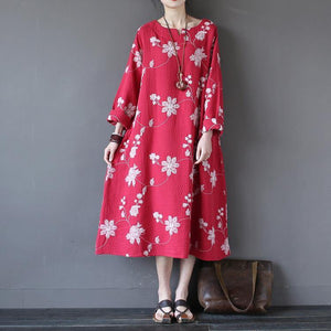 Loose red embroidery cotton linen clothes Fabrics Art pockets Dresses