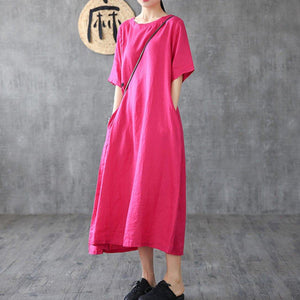 Loose rose linen Long Shirts short sleeve pockets Robe Dresses