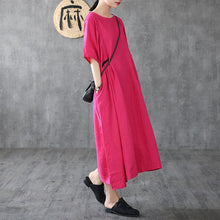 Load image into Gallery viewer, Loose rose linen Long Shirts short sleeve pockets Robe Dresses