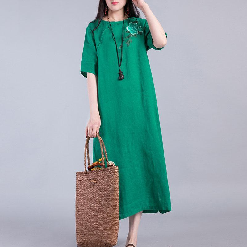 Loose side open linen dress Work Outfits green embroidery Dress summer