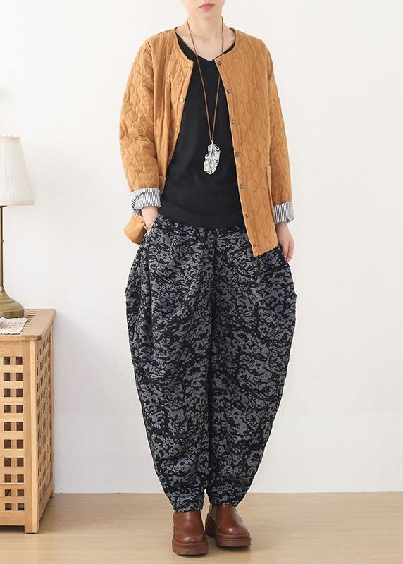 Loose spring Jacquard pant unique black harem pants