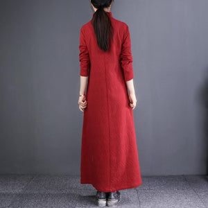 Loose stand collar Button Down linen clothes For Women boutique red Robe Dresses