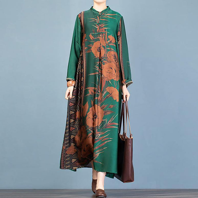 Loose stand collar Chinese Button clothes pattern green print Maxi Dresses