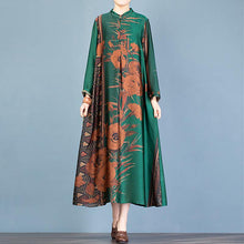 Load image into Gallery viewer, Loose stand collar Chinese Button clothes pattern green print Maxi Dresses