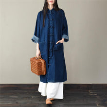 Load image into Gallery viewer, Loose stand collar Plus Size spring clothes For Women dark blue silhouette coats