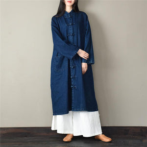 Loose stand collar Plus Size spring clothes For Women dark blue silhouette coats