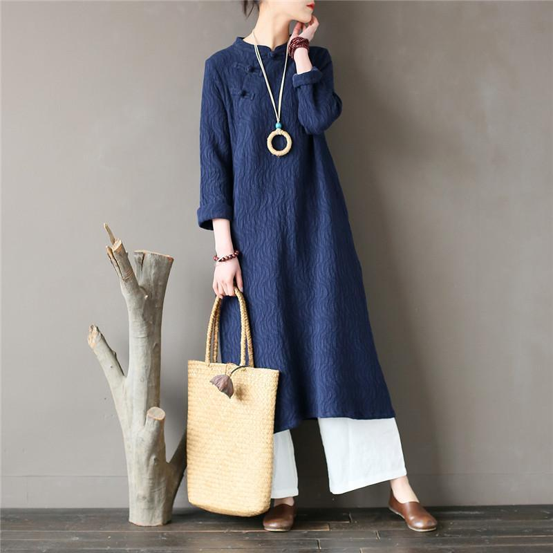 Loose stand collar cotton spring clothes For Women Fabrics blue jacquard cotton Dress