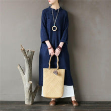 Load image into Gallery viewer, Loose stand collar cotton spring clothes For Women Fabrics blue jacquard cotton Dress