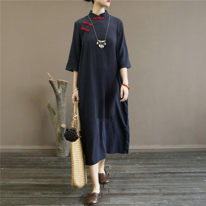 Loose stand collar cotton summer quilting dresses Work Outfits navy plaid Traveling Dress