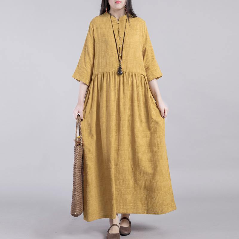 Loose stand collar linen cotton Robes Catwalk yellow Dresses fall