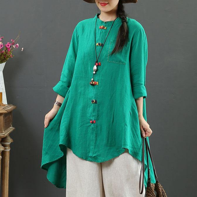 Loose stand collar low high design linen shirts Fabrics green shirts fall