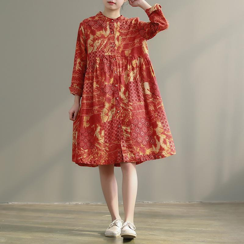 Loose stand collar pockets cotton linen clothes Pakistani Shirts orange floral shift Dress