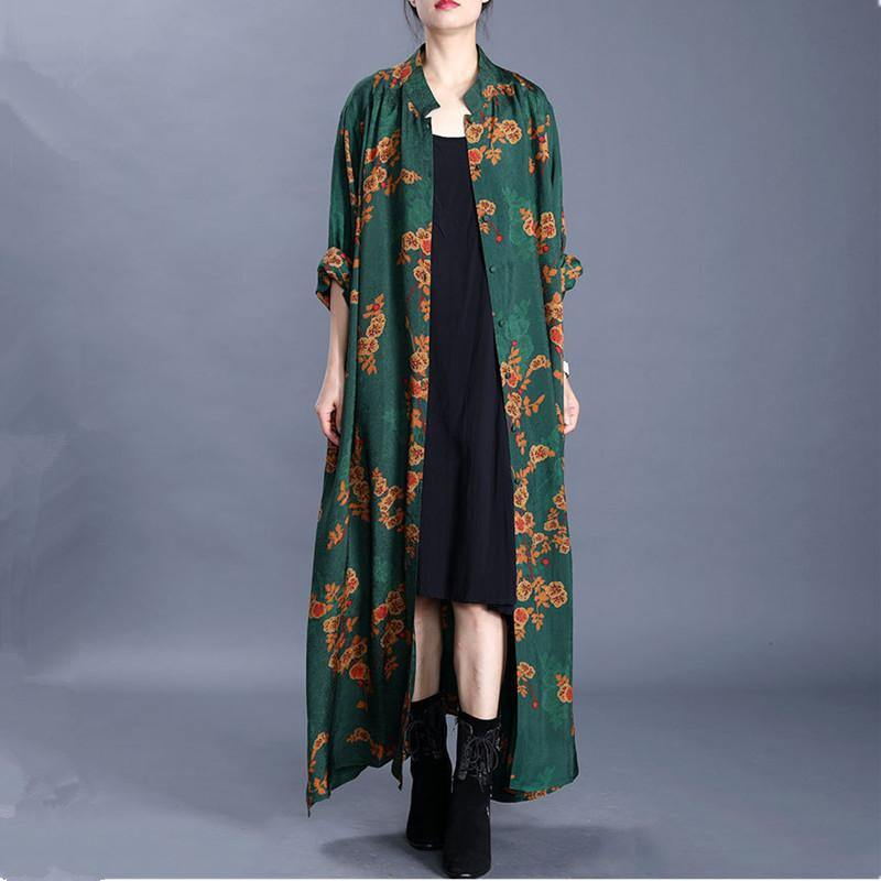 Loose stand collar side open top quality spring tunic coats green print outwear