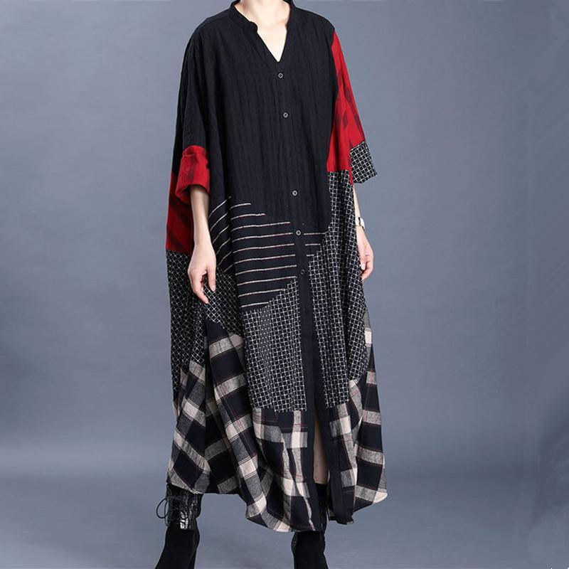 Loose v neck baggy cotton quilting clothes Photography black patchwork red A Line Dresses