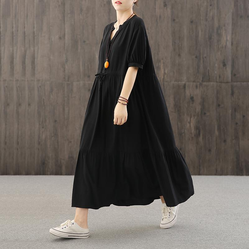 Loose v neck wrinkled quilting dresses Work Outfits black Robe Dresses