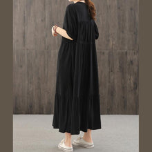 Load image into Gallery viewer, Loose v neck wrinkled quilting dresses Work Outfits black Robe Dresses