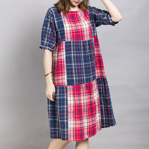Loose Casual Plaid Color Block Midi Dress