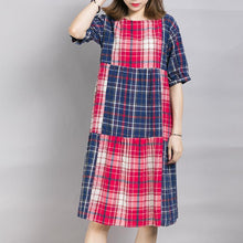 Load image into Gallery viewer, Loose Casual Plaid Color Block Midi Dress
