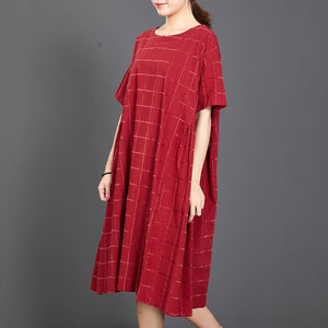 Loose Plaid Casual Short Sleeve Red Dress